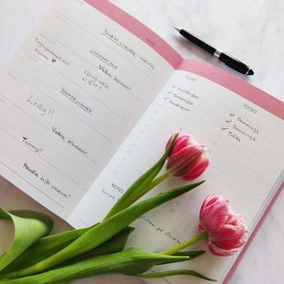 Insidan av Week Planner rosa med tulpaner i